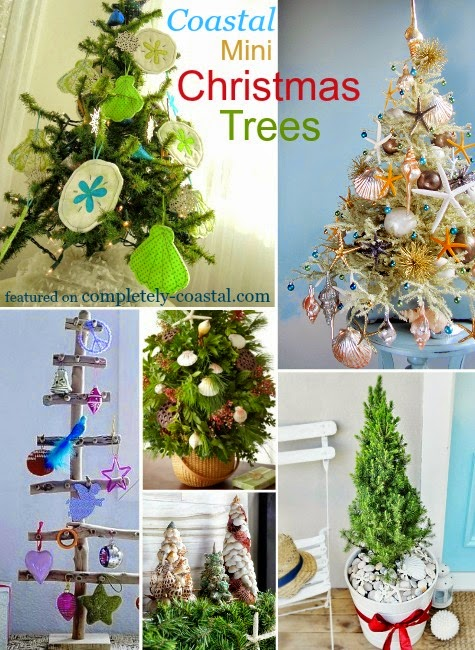 coastal tabletop Christmas trees