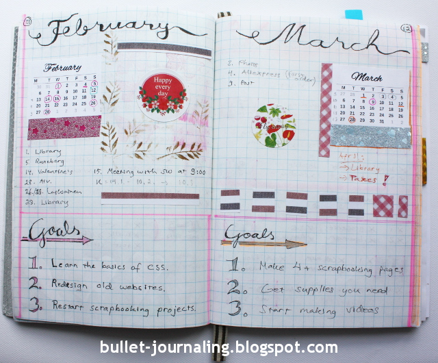 Picture: Bullet journal monthly spread February March