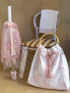 romantic flowers greek orthodox baptism candle set