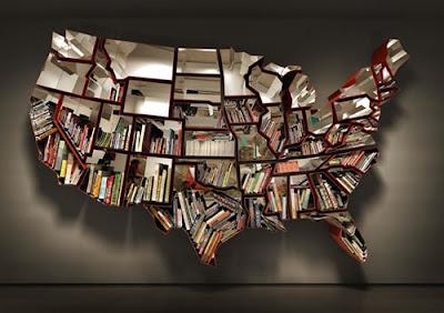 Librero muy ingenioso en forma de mapa de estados unidos