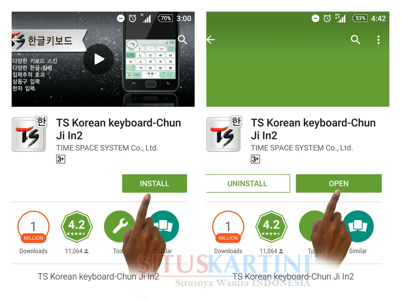 """Install Aplikasi Ts korean Keyboard di Google Play atau Play Store dengan Keyword """" Ts Korean Keyboard"""" setelah selesai di Install klik """"OPEN"""""""