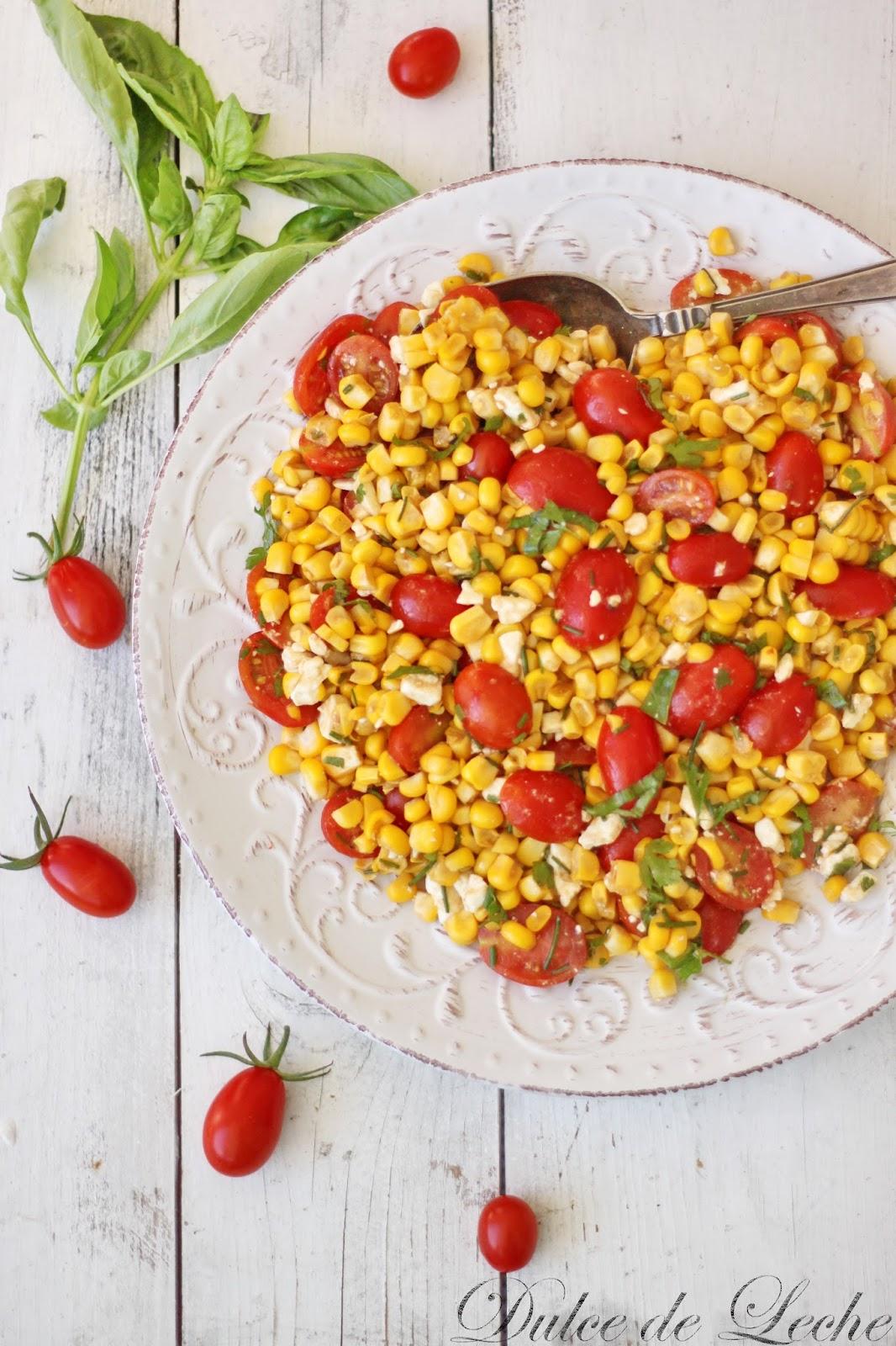 Letný šalát z kukurice,rajčín a Fety