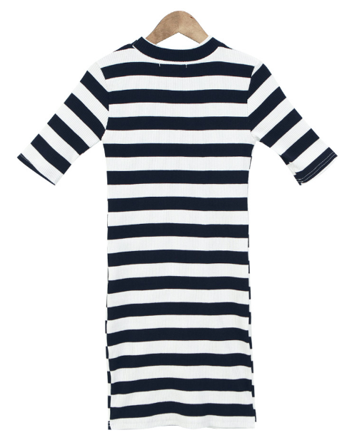 Slim Fit Stripe Short Sleeve Dress