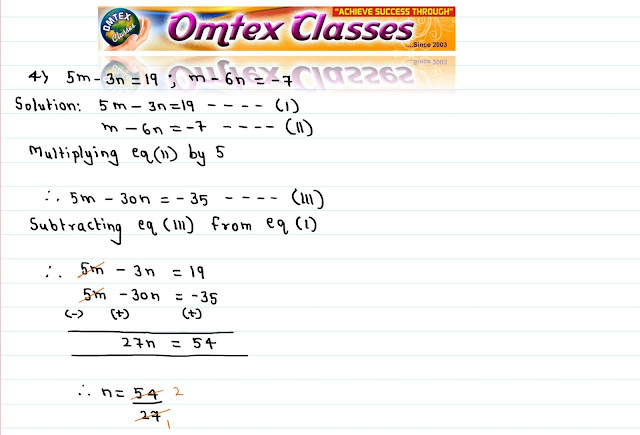 Solve the following simultaneous equations. 5m - 3n = 19; m - 6n = - 7