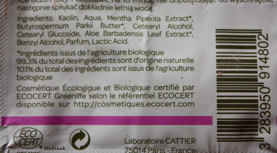 Cattier Masque Argile rose pour peaux sensibles composition