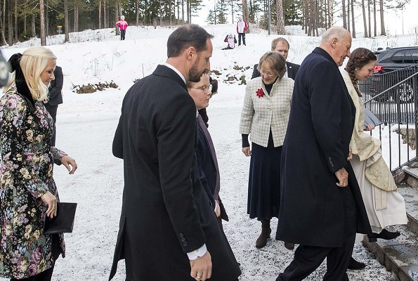 Queen Sonja, Princess Ingrid Alexandra and Prince Sverre Magnus. Crown Princess Mette-Marit wore Red Valentino floral jacquard coat