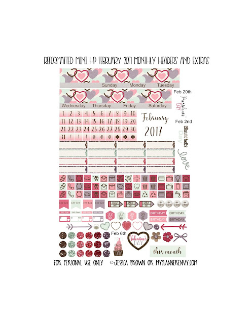 Reformatted February 2017 Monthly Headers & Extras for the Mini Happy Planner from myplannerenvy.com