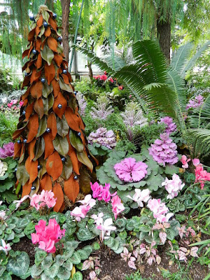 Magnolia leaf topiary at the 2018 Allan Gardens Conservatory Winter Flower Show by garden muses--not another Toronto gardening blog