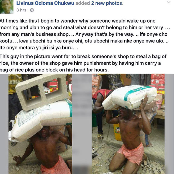 Man who stole rice made to carry bag of rice and cement block on his head