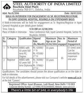 SAIL Recruitment 2016 - 05 Sr. Registrar, Registrar Vacancies