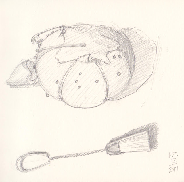 Daily Art 12-12-17 still life sketch in graphite number 67-68 - tomato pin cushion and sewing machine brush