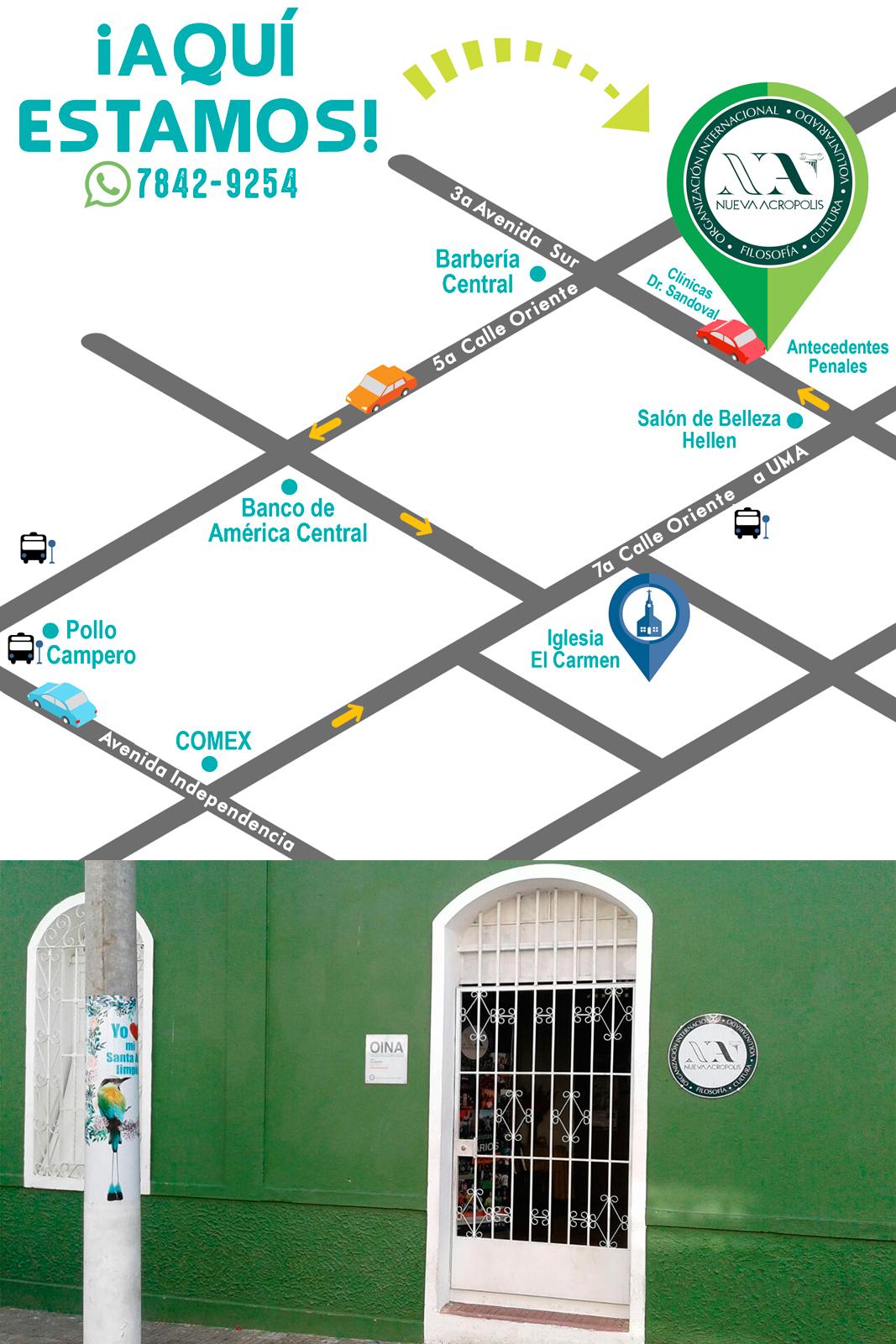 Croquis Ubicación de Nueva Acrópolis Santa Ana, El Salvador