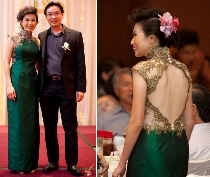 Green Cheongsam With Golden Lace