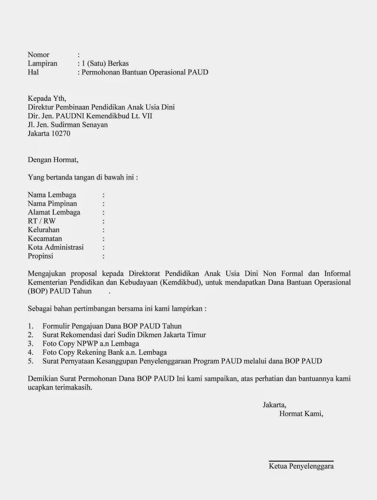 Contoh Surat Permohonan Bantuan Operasional Bop Paud Wisanggeni