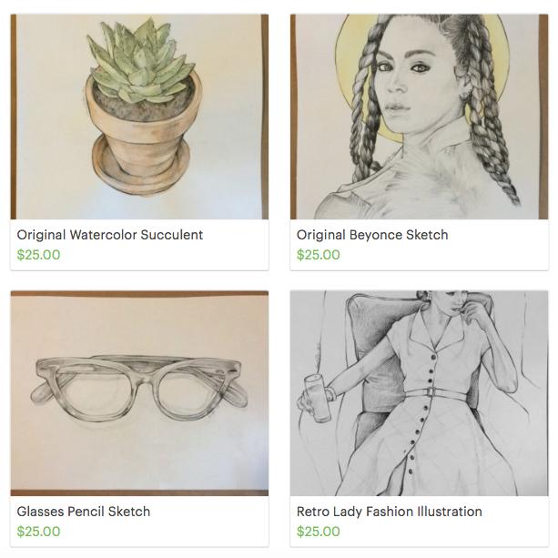 beyonce, fashion-illustration, succulents, glasses, sketch, art, watercolor