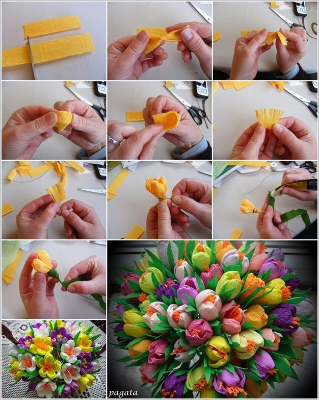 Create Awesome Crepe Paper Spring Flower Bouquet