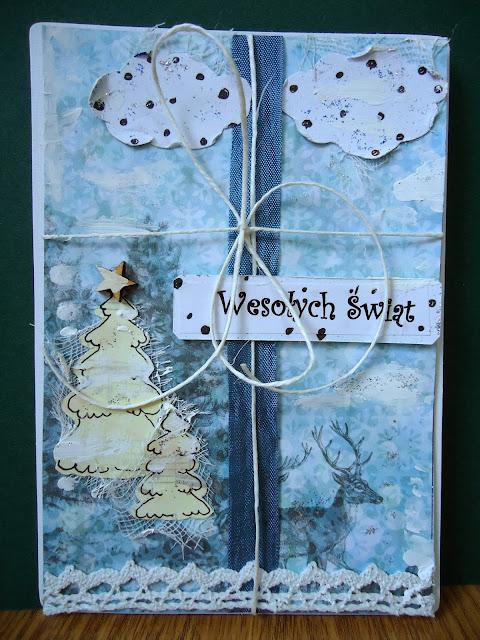 rękodzieło, kartka hand made w nastroju zimowym, kartka świąteczna z jelonkiem