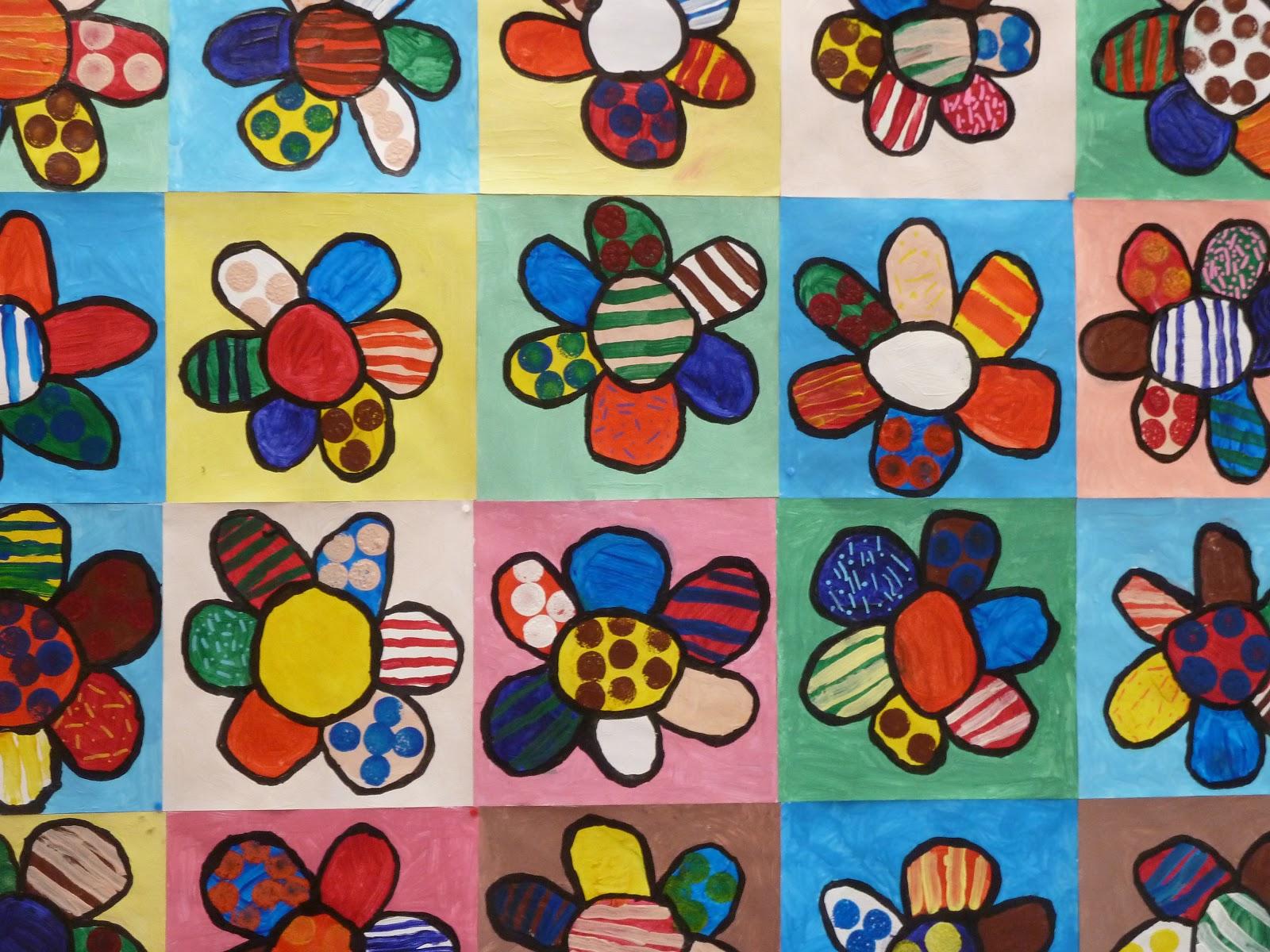 Coloriage Fleur Britto.Amiscol A La Maniere De Romero Britto
