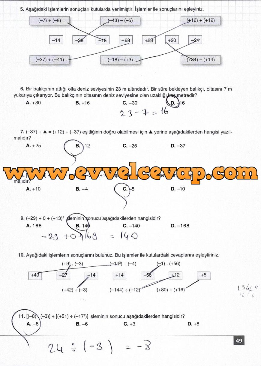 7. Sınıf Matematik Koza Yayınları 49. Sayfa Cevapları