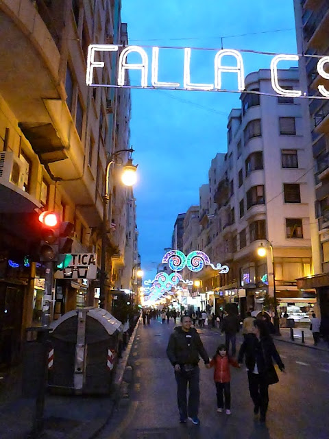 Evening lights at Las Fallas in Valencia, Spain