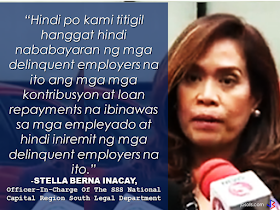 """An employer was arrested for not remitting their employees contributions to the SSS amounting to P1.6 million from 2007-2011. Victor Caluag, a former publishing house proprietor together with his 83 years old mother, Conchita was arrested  for non-remittance of their employees SSS contributions for their former business Silverstream Publishing.  Caluag denies knowledge of existing warrant of arrest from Makati RTC. According to him, there was no demand letter from SSS. He also said that it was their accountant's mistake and the said accountant has no longer in contact with them.  However, Stella Berna Inacay, officer-in-charge of the SSS's National Capital Region South legal department said Caluag had appeared during a hearing of his case but allegedly """"jumped bail"""" and then ignored it altogether.The judge decided to issue a warrant of arrest against him.  Another closed down Paladin Protective and Security  owner Florencio Lim is under SSS pursuit after likewise not remitting  a sum of about P16 million employees contribution since 1987 to 2013.       Inacay said that this move is a part of their intensified campaign against delinquent employers and for the protection of members.   """"We will not stop until all SSS remittances and loan repayments deducted to the employees has been entirely paid by the employers,"""" Inacay added.  RECOMMENDED:  PRESIDENT DUTERTE VISITS ADMIRAL TRIBUTS    DTI ACCREDITED CARGO FORWARDERS FOR 2017   NO MORE PHYSICAL INSPECTION FOR BALIKBAYAN BOXES    BOC DELISTED CARGO FORWARDERS AND BROKERS  BALIKBAYAN BOXES SHOULD BE PROTECTED"""