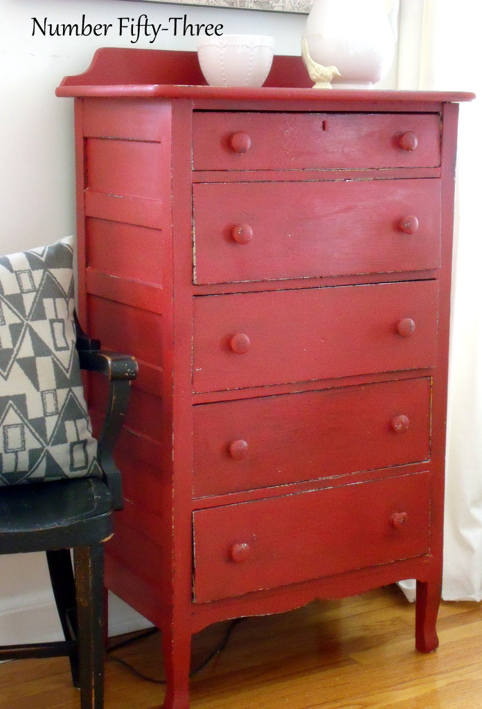 Number FiftyThree Antique Red Dresser