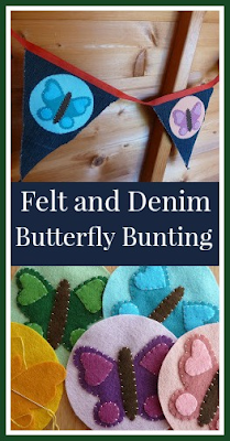 Felt and denim butterfly bunting craft