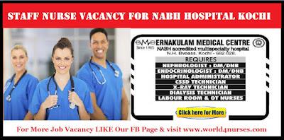Staff Nurse vacancy for NABH Hospital Kochi