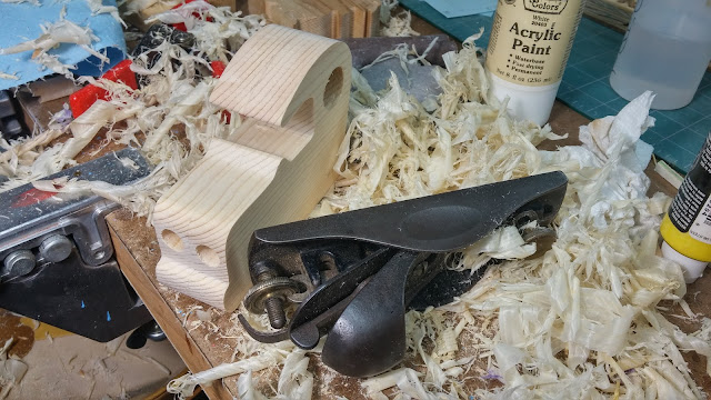 Stanley Block Plane Used to Smooth the Flat Surfaces of This Wooden Toy Car Body