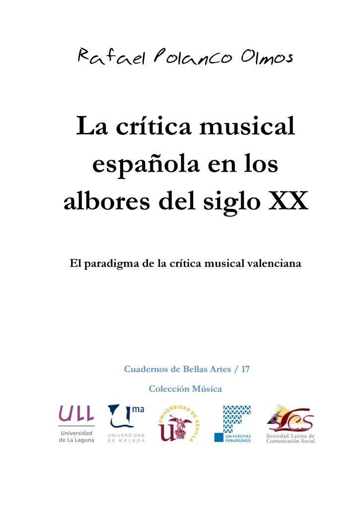 La crítica musical española en los albores del siglo XX – Rafael Polanco Olmos