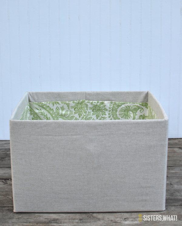 how to cover card board boxes with fabric