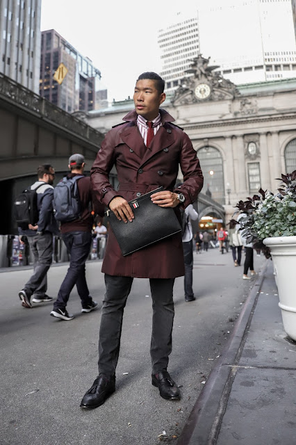 Leo Chan wearing Burgundy Burberry Trenchcoat for Fall, Eton Shirt, Thom Brown Bag | Asian Male Model and Blogger