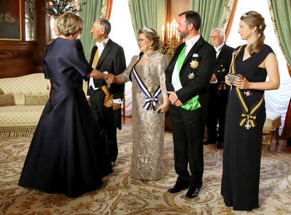 Grand Duke Henri, Duchess Maria Teresa, Prince Guillaume and Princess Stephanie attended the gala dinner at Grand Duke's Palace in Luxembourg