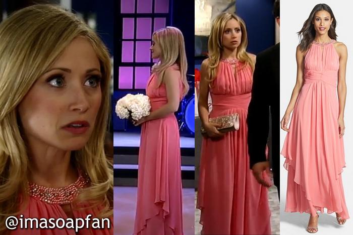 Lulu Spencer Falconeri, Emme Rylan, Coral Dress, Eliza J, Nurses Ball, GH, General Hospital, Season 52, Episode 29, 5/09/14