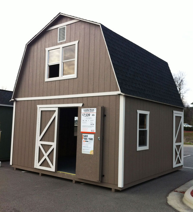 Modular home builder youtube videos promote storage barns for Home depot tiny house 2 story
