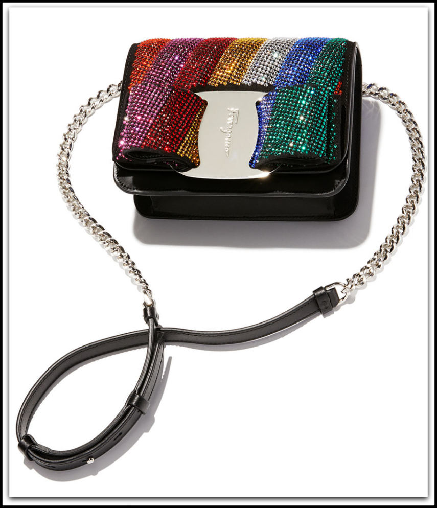 Salvatore Ferragamo Vara Rainbow Crystal Shoulder Bag