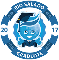grad badge of splash in cap and gown with text: Rio Salado Graduate 2017