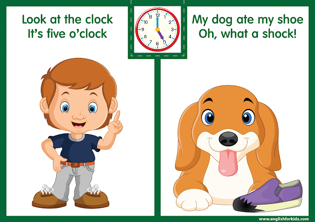 Telling the time worksheet - five one o'clock on the clock - printable ESL resources