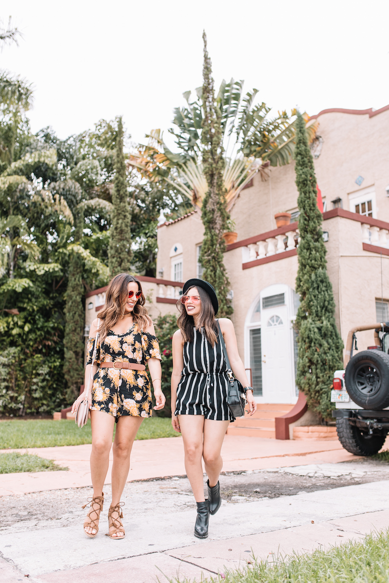 kelly saks, miami fashion blogger, summer festival, romper, striped romper, coach boots, rose tinted glasses, best miami bloggers, fashion,