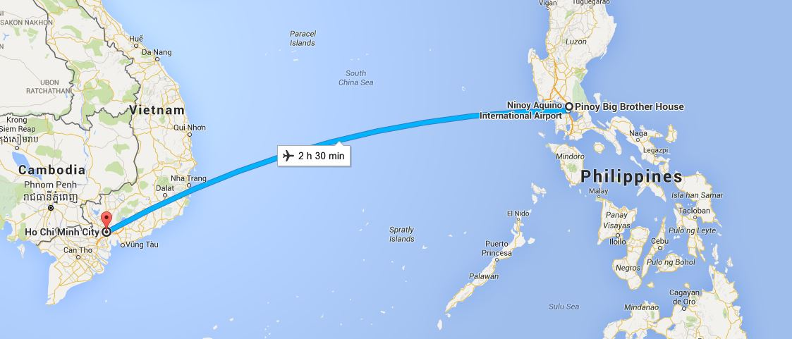 Manila, Philippines to Vietnam map and travel time
