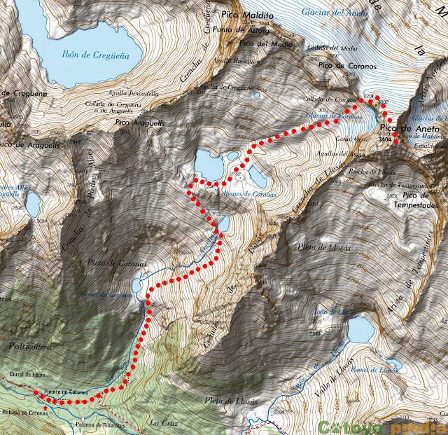 Mapa IGN de la ruta señalizada al Pico Aneto desde Coronas