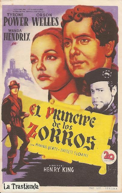 Programa de Cine - El Príncipe de los Zorros - Tyrone Power - Orson Wells - Wanda Hendrix