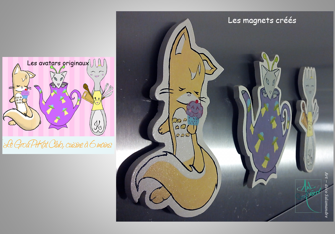 Magnets en bois art-deco Salamandre