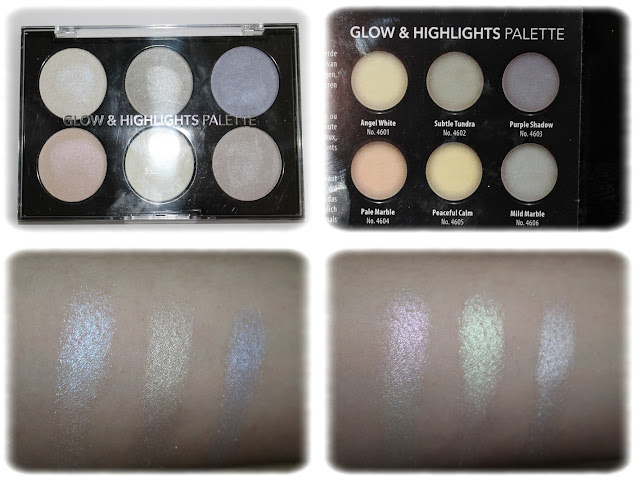 Swatchs Glow & Highlights Palette - Action - Teintes Angel White, Subtle Tundra, Purple Shadow, Pale Marble, Peaceful Calm et Mild Marble