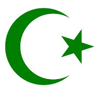 Crescent moon and star representing Islam