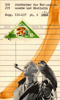 "Herman Melville ""I prefer not to"" library due date card Falconer falcon triangle mushroom polish postage stamp Dada Fluxus mail art collage"