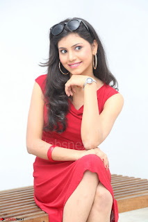 Mounika Telugu Actress in Red Sleeveless Dress Black Boots Spicy Pics 046.JPG