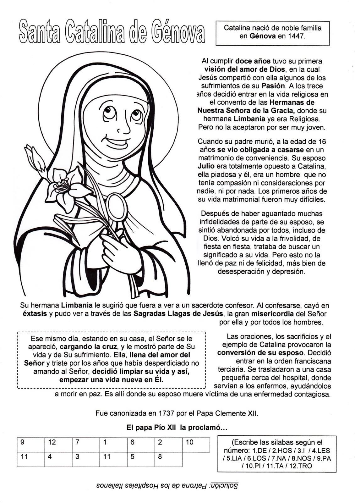 El Rincón de las Melli: Santa Catalina de Génova (historia y juego)