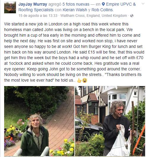 Trabajadores comparten historia de un indigente