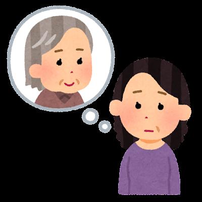 親を心配する人のイラスト(中年女性)